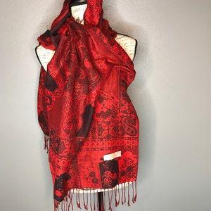 Pashmina Red/Black Paisley large Scarf Wrap